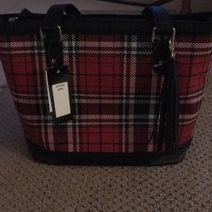 Bueno Plaid Tassel Tote Bag never used
